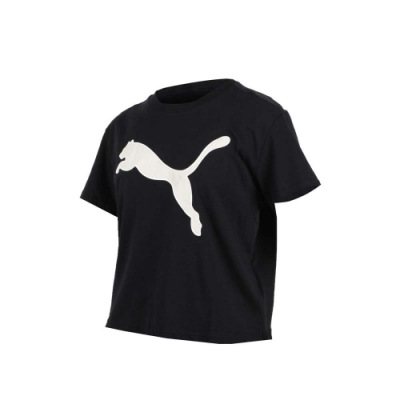 PUMA 女基本系列大跳豹短袖T恤-慢跑 路跑 黑卡其