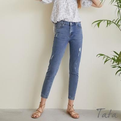 刷破後鬆緊反摺牛仔褲 TATA-(S~XL)