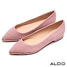 ALDO 原色真皮鞋面鑲嵌璀璨流線水鑽尖頭平底鞋~氣質粉色