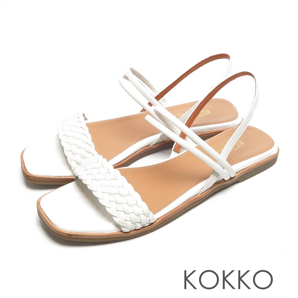 KOKKO時髦方頭一字帶編織小牛皮平底涼拖鞋清爽白