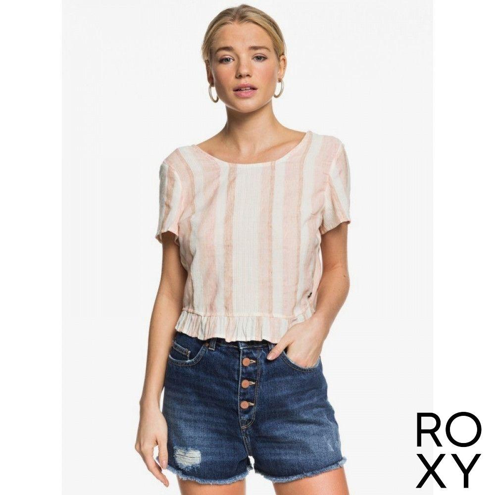 【ROXY】GHOST AWAY STRIPE 上衣 粉橘