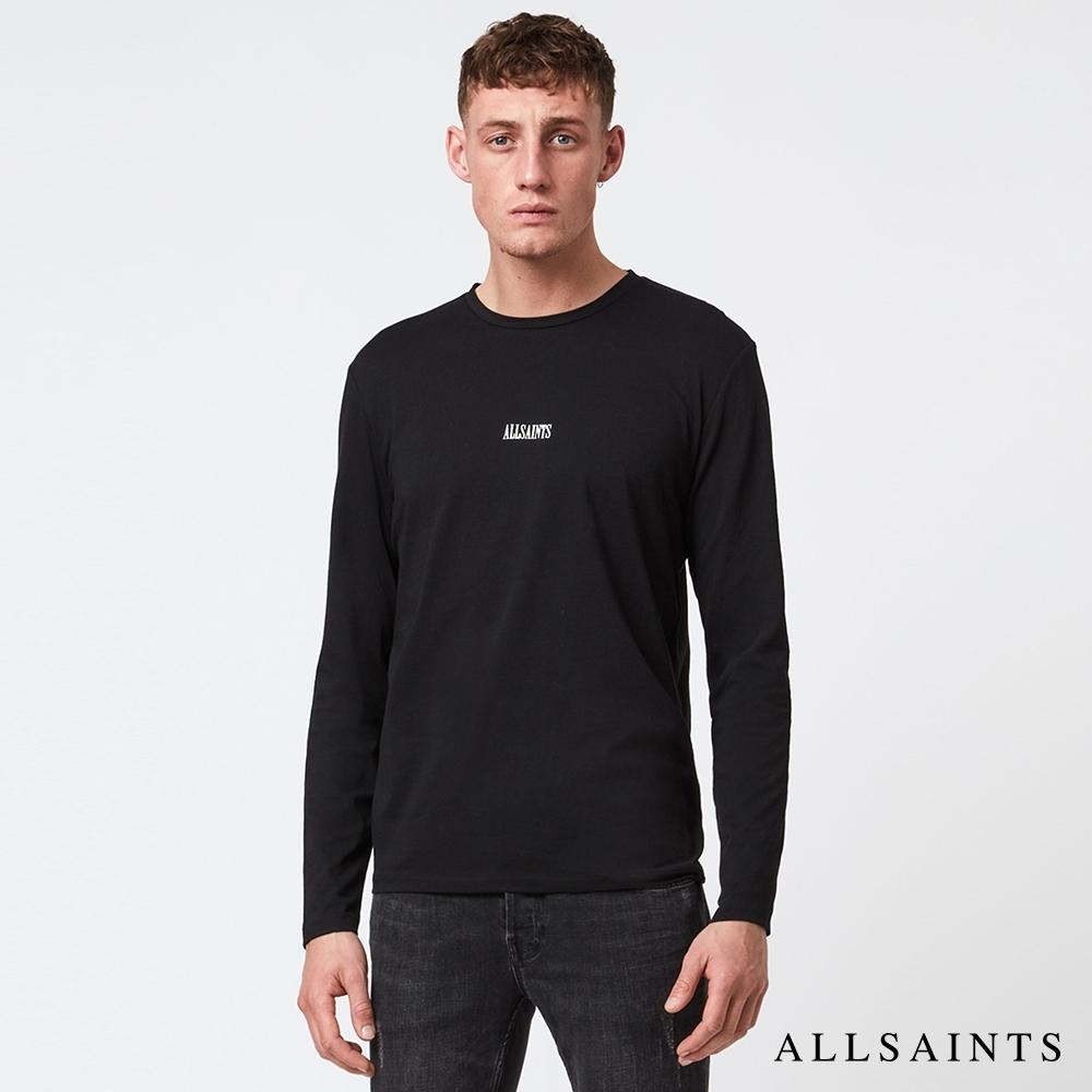 ALLSAINTS STATE 寬鬆舒適品牌LOGO標素面純棉長袖上衣-黑