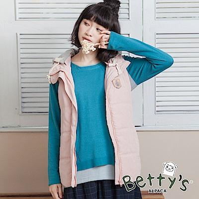 betty's貝蒂思 清爽配色連帽抽繩鋪棉背心(淺粉)