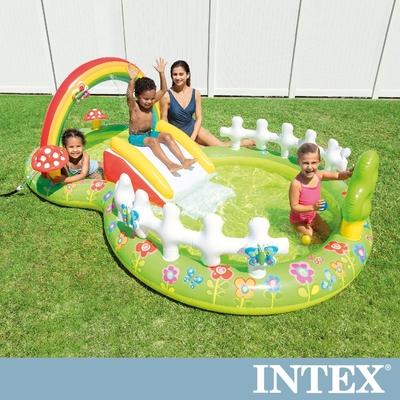【INTEX】彩虹花園戲水池/滑水道290x180x104cm(450L)適用2歲+(57154NP)
