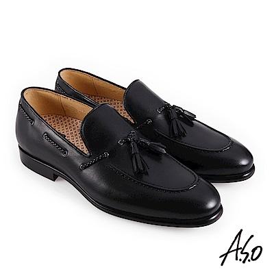 A.S.O職場通勤 零壓挺力流蘇樂福紳士鞋-黑