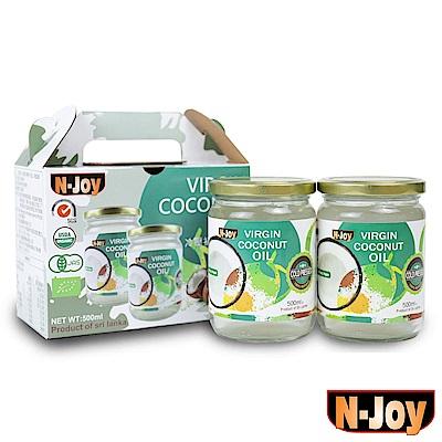 N-Joy恩久 有機冷壓初榨椰子油禮盒2入組(500ml/罐)
