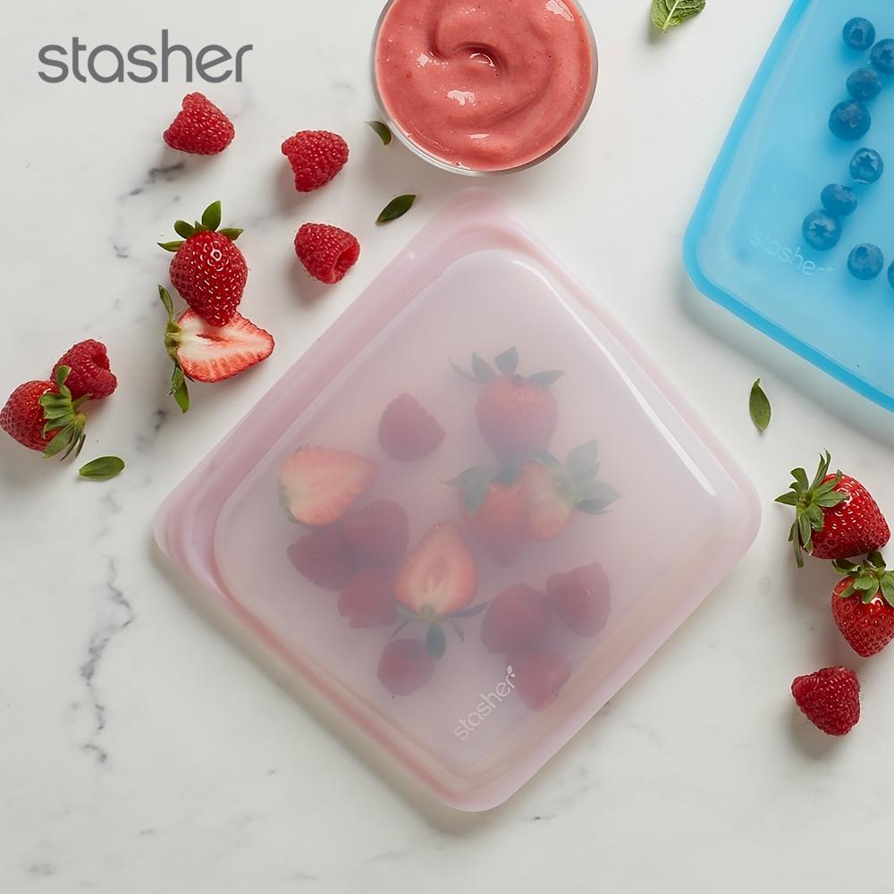 美國Stasher 方形環保按壓式矽膠密封袋-玫瑰石英粉(快)