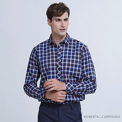 ROBERTA諾貝達 台灣製 帥氣休閒 撞色格紋長袖襯衫  藍紅