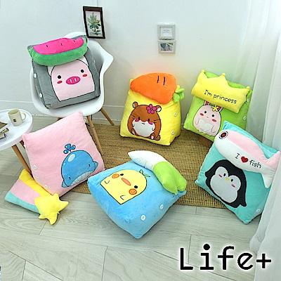 [團購2入組] Life Plus 萌趣造型舒壓絨毛萬用靠枕/抱枕/腰靠枕