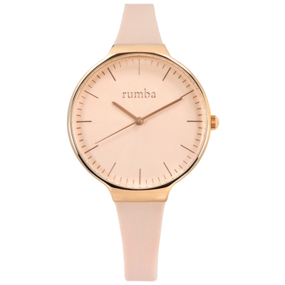 rumba time Orchard Wave 紐約品牌 矽膠手錶-淺粉x玫瑰金/37mm