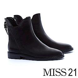短靴 MISS 21 獨特縫線設計全真皮尖頭粗跟短靴-黑
