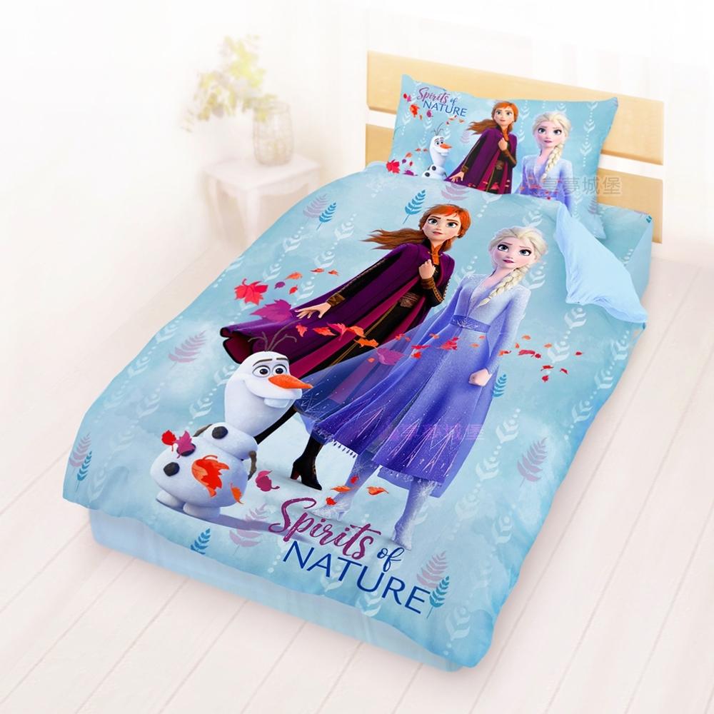 享夢城堡 單人床包雙人涼被三件組-冰雪奇緣FROZEN迪士尼 秋日之森-藍