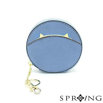 SPRING-貓圓形零錢包-天藍喵喵