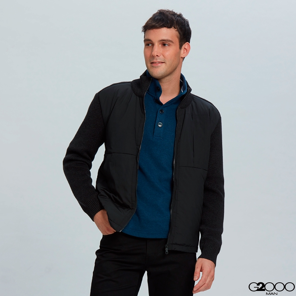 G2000素面羽絨拼貼針織外套-黑色