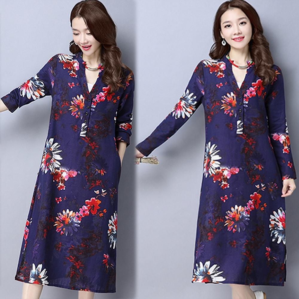 【韓國K.W.】(預購)中國風印花開衩過膝旗袍洋裝-3色 product image 1