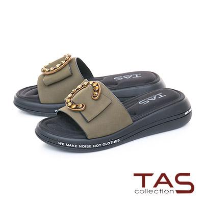 TAS C字金屬一字寬版個性涼拖鞋-草墨綠