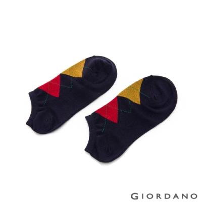 GIORDANO 素色/簡約圖騰休閒短襪(單雙入) - 08 黑/菱格紋