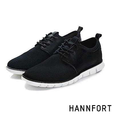 HANNFORT ZERO GRAVITY編織德比氣墊休閒鞋-男-穩重黑