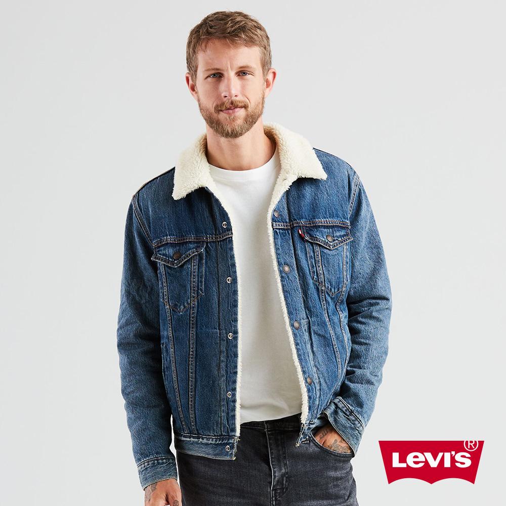 Levis 男款 牛仔外套 毛領Sherpa