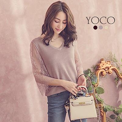 東京著衣-yoco 浪漫花園V領拼接蕾絲袖多色針織上衣-S.M.L(共三色)