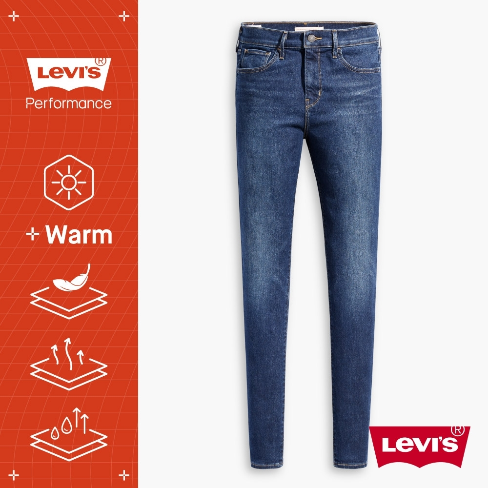 Levis 女款 720 高腰超緊身窄管 超彈力牛仔褲 WARM JEANS 機能保暖內刷毛 中藍刷白