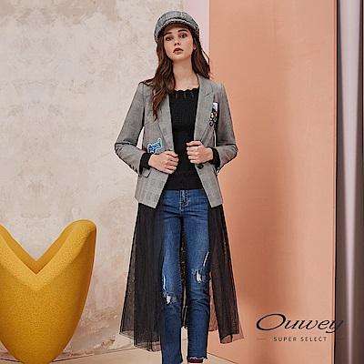 OUWEY歐薇 時尚千鳥格紋活動式紗片西裝外套(灰)