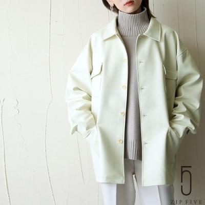 日牌Chillfar 仿皮革OVERSIZE女外套皮衣夾克 2色