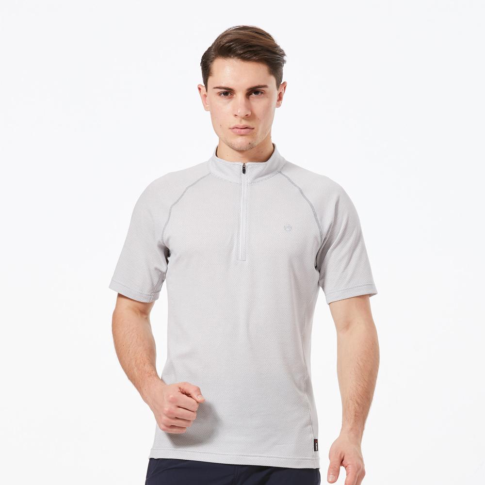 【HAKERS 】男 涼感快乾半開襟立領衫  -白色