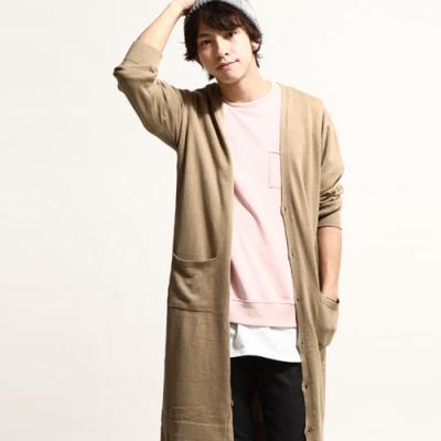 針織外套長版素色純棉開襟外套(10色) ZIP日本男裝