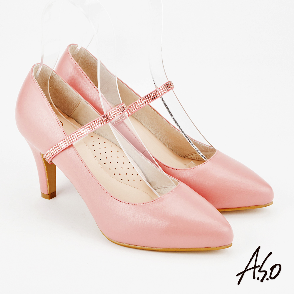A.S.O 百變女伶 時尚優雅微尖頭高跟鞋 粉紅