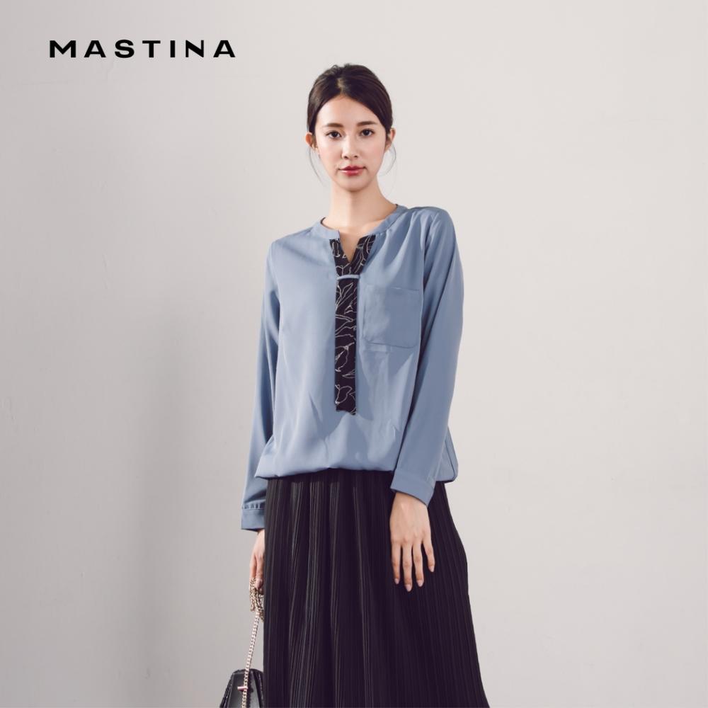 【MASTINA】可拆式領結雪紡-襯衫(二色)
