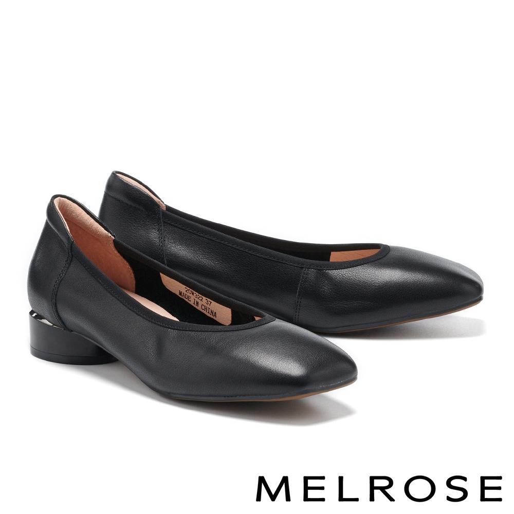 低跟鞋 MELROSE 細緻典雅素面全真皮造型方頭低跟鞋-黑