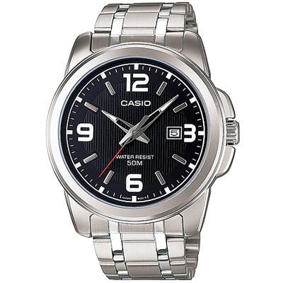 CASIO 品味城市優雅紳士錶-黑(MTP-1314D-1A)/45mm