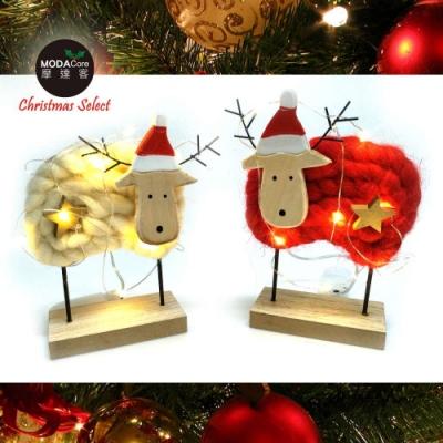 交換禮物-摩達客 超萌聖誕紅白羊咩咩毛氈擺飾兩入對組+LED10燈銅線燈兩串(電池燈)