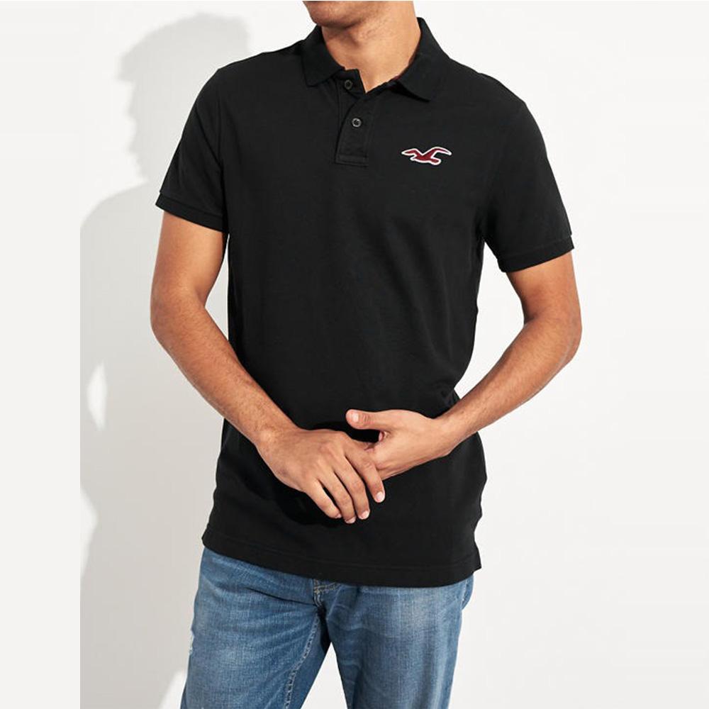 海鷗 Hollister HCO 限定款經典電繡大海鷗短袖Polo衫-黑色