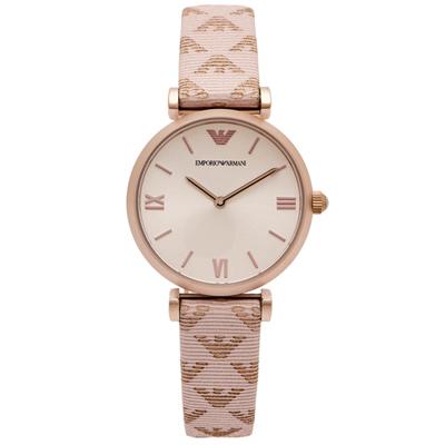 ARMANI 優雅風圖紋皮革錶帶手錶(AR11126)-淡香檳色面X粉紫/32mm