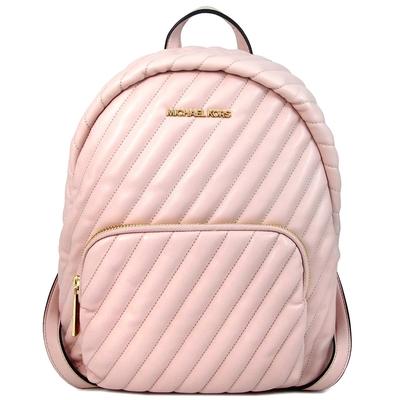 MICHAEL KORS Erin大款 金字Logo绗縫斜紋羊皮質感前口袋雙肩後背包(裸膚粉)