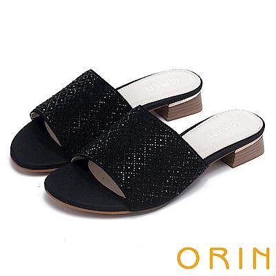 ORIN 魅力新時尚 寬版一字布面燙鑽低跟拖鞋-黑色