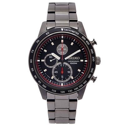 SEIKO 黑色旋風黑鋼款計時手錶(SNDD89P1)-黑面x黑色/42mm