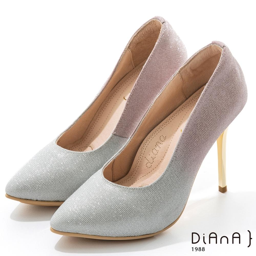 DIANA 10.5cm漸層法式鑽石紋前微尖頭高跟鞋-漫步雲端焦糖美人-粉銀