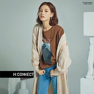 H:CONNECT 韓國品牌 女裝-彈性不收邊直筒牛仔褲-藍
