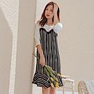 蕾絲點綴拼接直條紋荷葉造型下襬七分袖洋裝-OB嚴選