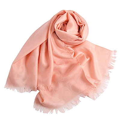 COACH 大C 滿版Logo羊毛混絲流蘇寬版披肩式圍巾-氣質粉