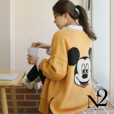 外套 正韓米奇圖案落肩設計側開衩寬版針織外套(黃)N2