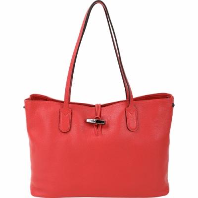 [專櫃價$28600] LONGCHAMP Roseau 竹節釦大型紅色托特包