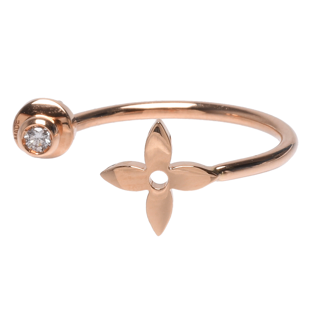 LV Q96334經典IDYLLE BLOSSOM鑽石鑲飾18K玫瑰金單邊穿式耳環-玫瑰金