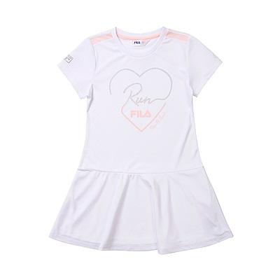 FILA KIDS 抗UV吸濕排汗洋裝-白 5DRT-4324-WT