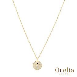Orelia 英國倫敦 水鑽牛角圓盤鍍金項鍊