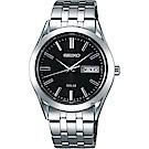 SEIKO 精工 SPIRIT 太陽能時尚手錶(SBPX083J)-黑x銀/38mm