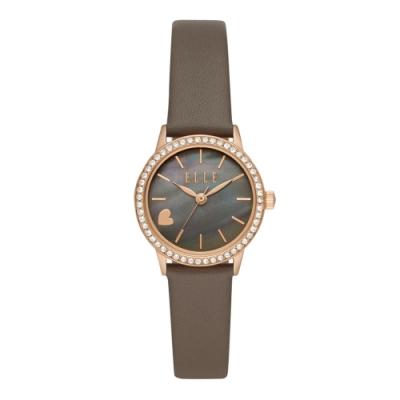 ELLE 心之所向晶鑽貝殼面腕錶-卡其色(ELL21033)/28mm